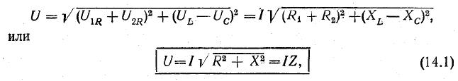 последовательное соединение конденсатора и катушки. Формула 3
