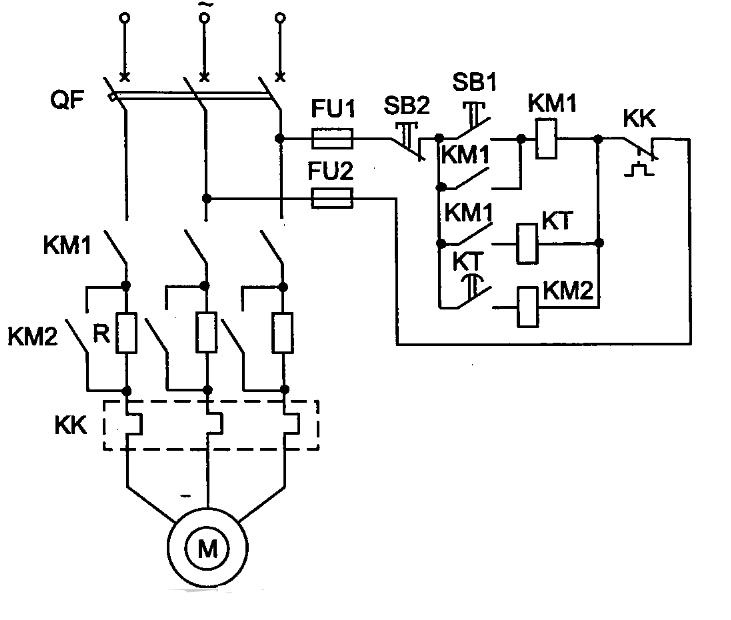 Схема управления асинхронного двигателя с симметричными сопротивлениями (реостатный пуск)