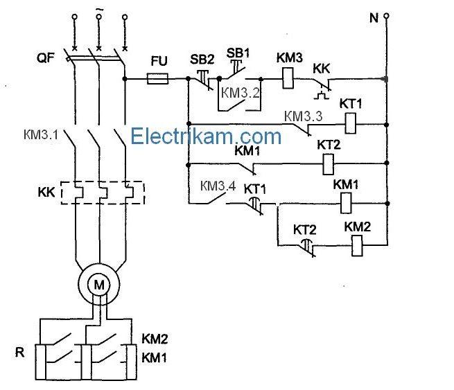 Схема пуска двигателя с фазным ротором