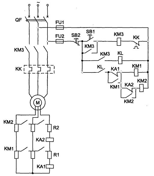 Cхема пуска двигателя с фазным ротором, функции тока.