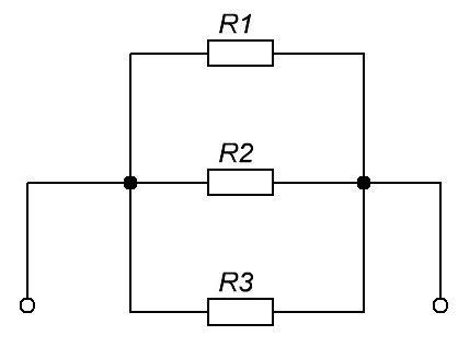 Электрическая цепь, состоящая из трех параллельно соединённых проводников