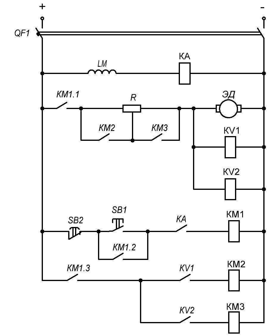 Схема пуска ДПТ НВ функции ЭДС