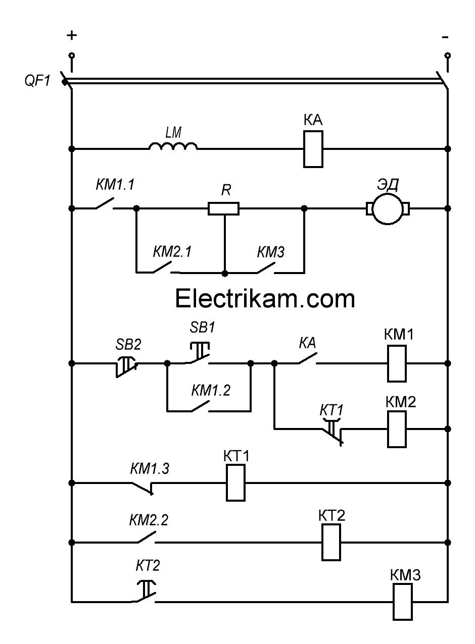 Схема пуска двигателя постоянного тока независимого возбуждения в функции времени