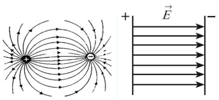 Распределение линий напряженности для изолированных (а) и взаимодействующих (б) зарядов