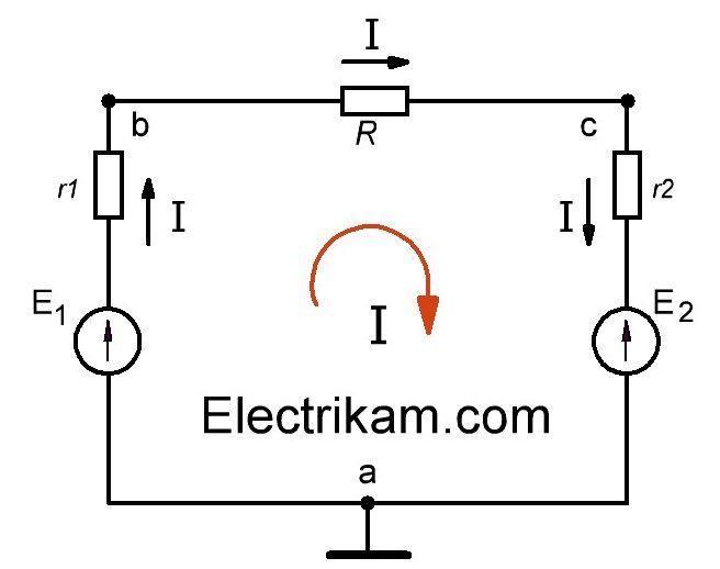 Схема электрической цепи с двумя источниками ЭДС