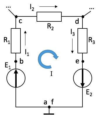 Рис. 1. Схема фрагмента электрической цепи - замкнутого контура